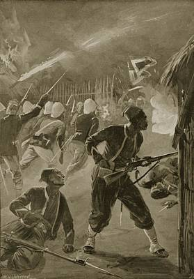It Was A Night Attack, And The Foe Print by William Heysham Overend
