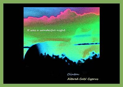 Advocate Mixed Media - It Was A Wonderful Night Green Altered Cats Cyprus by Anita Dale Livaditis
