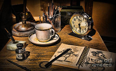 Old Time Photograph - It Was All Started By A Mouse - Walt Disney's Desk by Lee Dos Santos