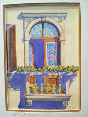 Italian Balcony In Spring Print by Susan Wilhoit