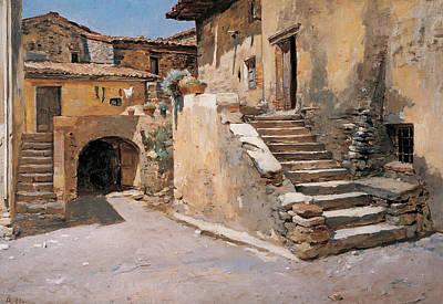 Italy Farmhouse Painting - Italian Courtyard by Frank Duveneck
