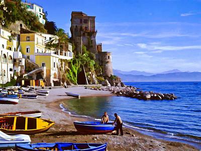 Villa Mixed Media - Italian Fishermen On The Amalfi Coast by Cliff Wassmann