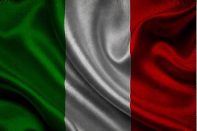 Waving Flag Mixed Media - Italian Flag Waving On Canvas by Eti Reid