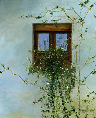 Boxes Painting - Italian Flower Window by Cecilia Brendel