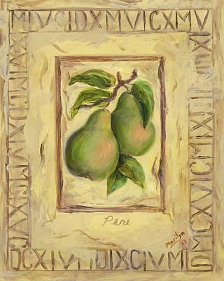 Italian Fruit Pears Print by Marilyn Dunlap
