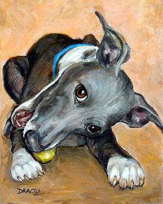 Italian Greyhound With Ball Original by Dottie Dracos
