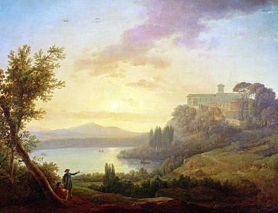 Italian Landscapes Painting - Italian Landscape, Setting Sun by Jean-Francois Hue