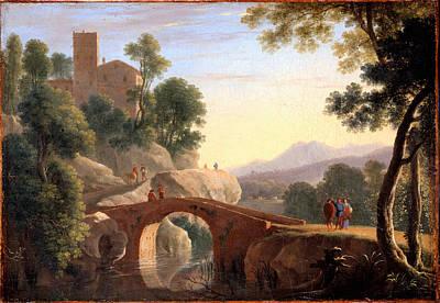 Italian Landscape With Bridge Print by Herman van Swanevelt