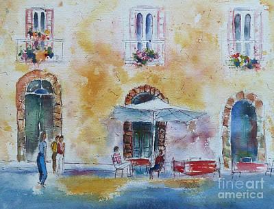 Venetian Doors Painting - Italian Piazza by Carolyn Jarvis