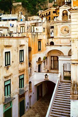 Villa Mixed Media - Italian Scene With Clocktower by Cliff Wassmann