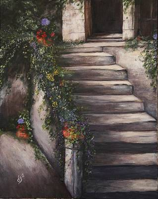 Italian Wine Painting - Italian Steps by DG Ewing