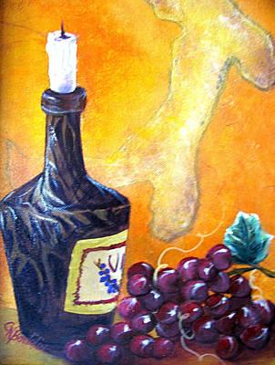 Italian Wine Painting - Italian Still Life by Collette Bortolin