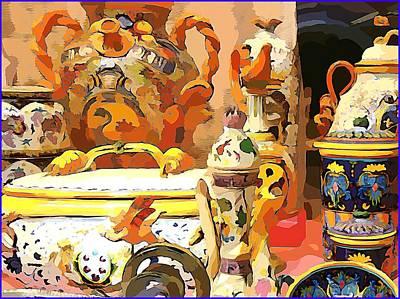 Ceramics Digital Art - Italian Still Life by Mindy Newman