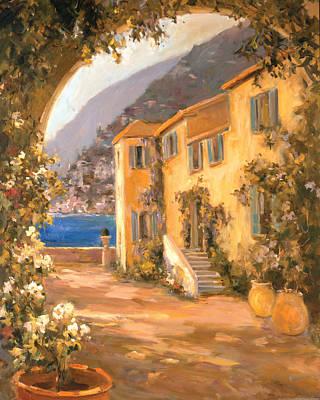Lake Como Painting - Italian Villa 1 by Allayn Stevens