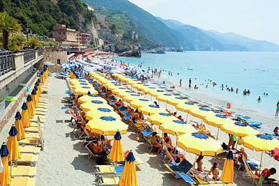Sunbathers Photograph - Italy Cinque Terre Monterosso - by Panoramic Images