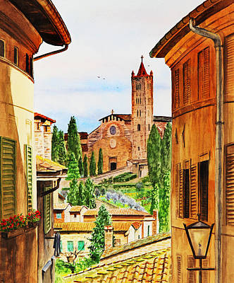 Realistic Landscape Painting - Italy Siena by Irina Sztukowski