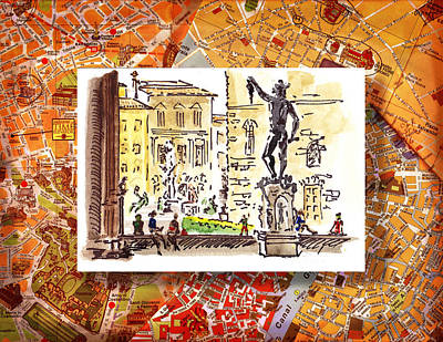 Old Age Painting - Italy Sketches Florence Palazzo Vecchio Piazza  by Irina Sztukowski