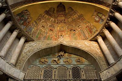 Mosaic Photograph - Italy, Venice Facade Mosaic- Basilica by Jaynes Gallery
