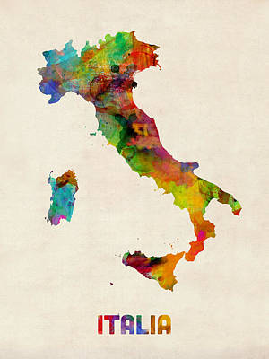 Italy Watercolor Map Italia Print by Michael Tompsett