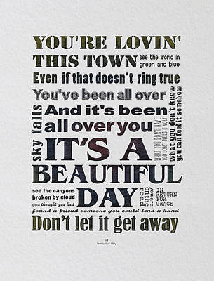 U2 Digital Art - It's A Beautiful Day Typography by Gyongyi Ladi