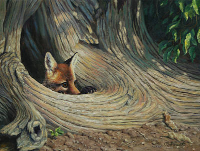 Stump Painting - Fox - It's A Big World Out There by Crista Forest
