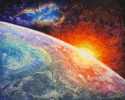 Outer Space Painting - It's A New Day by Susan Card