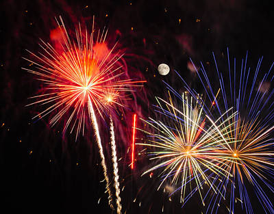 Its Raining Gold - Fireworks And Moon Print by Penny Lisowski