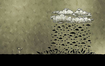 Grey Clouds Photograph - It's Raining Umbrellas by Gianfranco Weiss