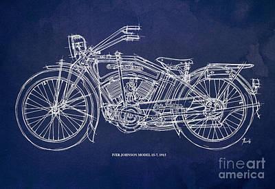 Regalo Drawing - Original Handmade Iver Johnson 1915 Blueprint by Pablo Franchi