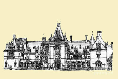 Asheville Artist Drawing - Ivory Biltmore Estate by Building  Art