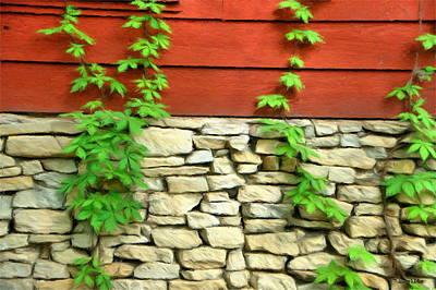 Jeff Digital Art - Ivy On Stone And Wood by Jeff Kolker