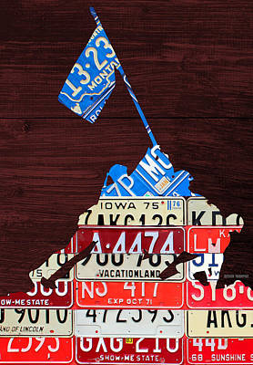 Board Mixed Media - Iwo Jima United States Marines Raising The American Flag Silhouette License Plate Art On Wood Board by Design Turnpike
