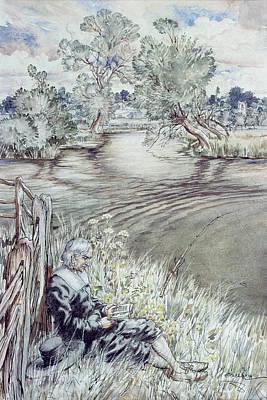 Angling Drawing - Izaak Walton Reclining Against A Fence by Arthur Rackham