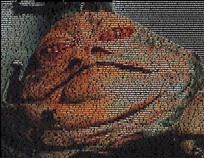 Jabba Painting - Jabba The Hutt Quotes Mosaic by Paul Van Scott