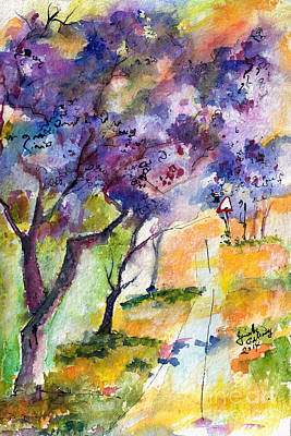 Jacaranda Tree Painting - Jacaranda Trees Watercolor And Ink By Ginette by Ginette Callaway