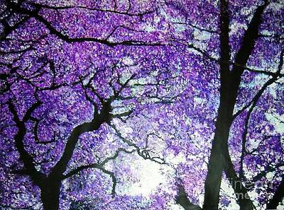 Jacaranda Tree Painting - Jacarandas By The River by Marie-Line Vasseur