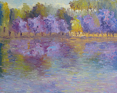 Jacaranda Tree Painting - Jacaranda's In Bloom by Terry  Chacon