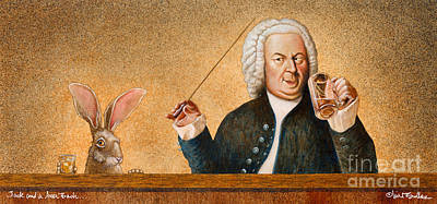 Jack And A Beer Bach... Print by Will Bullas