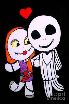 Jack And Sally Print by Marisela Mungia