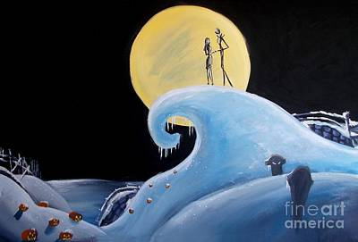Jack And Sally Snowy Hill Print by Marisela Mungia