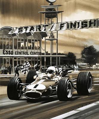 Car Drawing - Jack Brabham Wins The First Ever Canadian Grand Prix by Wilf Hardy