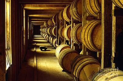 Jack Daniel Whiskey Maturing In Barrels In Old Warehouse At The Lynchburg Distillery Tennessee Usa Print by David Lyons
