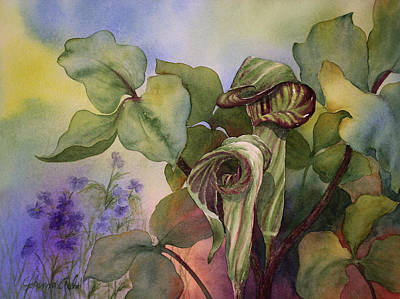 In Earth Tones Painting - Jack In The Pulpit by Johanna Axelrod
