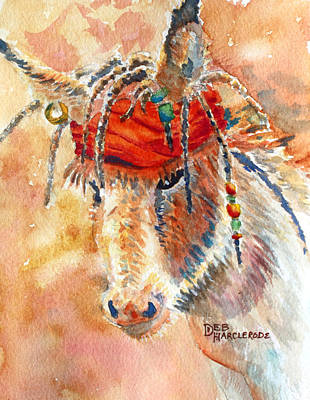 Donkey Watercolor Painting - Jack Jr. Burro by Deb  Harclerode