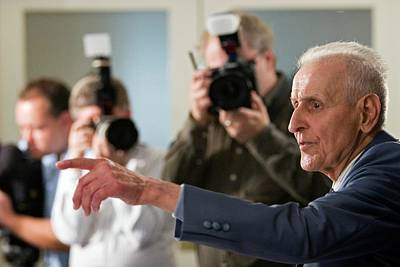 Press Conference Photograph - Jack Kevorkian by Jim West