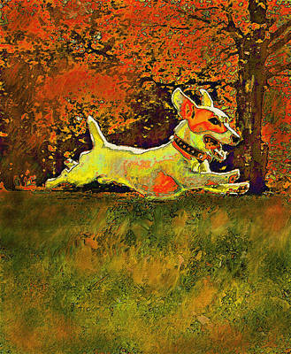 Puppy Digital Art - Jack Russell In Autumn by Jane Schnetlage