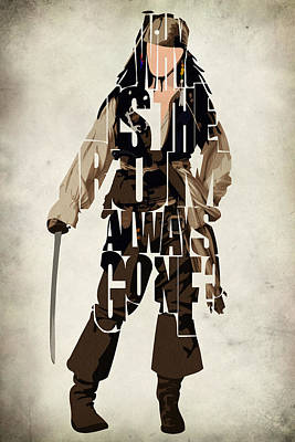 Sparrow Digital Art - Jack Sparrow Inspired Pirates Of The Caribbean Typographic Poster by Ayse Deniz