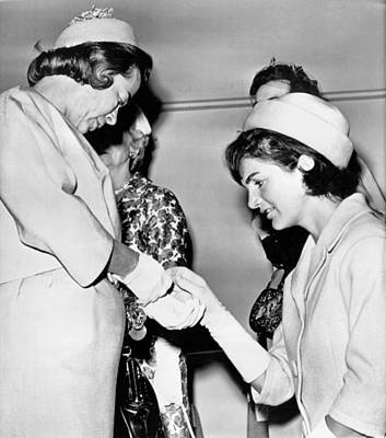 President And First Lady Photograph - Jackie Inspects Gold Bracelet by Underwood Archives