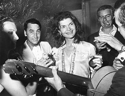 Lively Photograph - Jackie Kennedy Playing Music by Underwood Archives