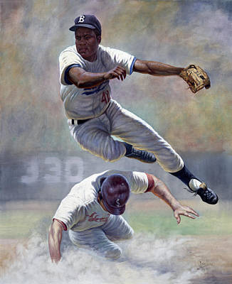 Batting Painting - Jackie Robinson by Gregory Perillo